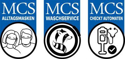 Icons von MCS zum Thema Alltagsmasken, Waescheservice und Automatencheck